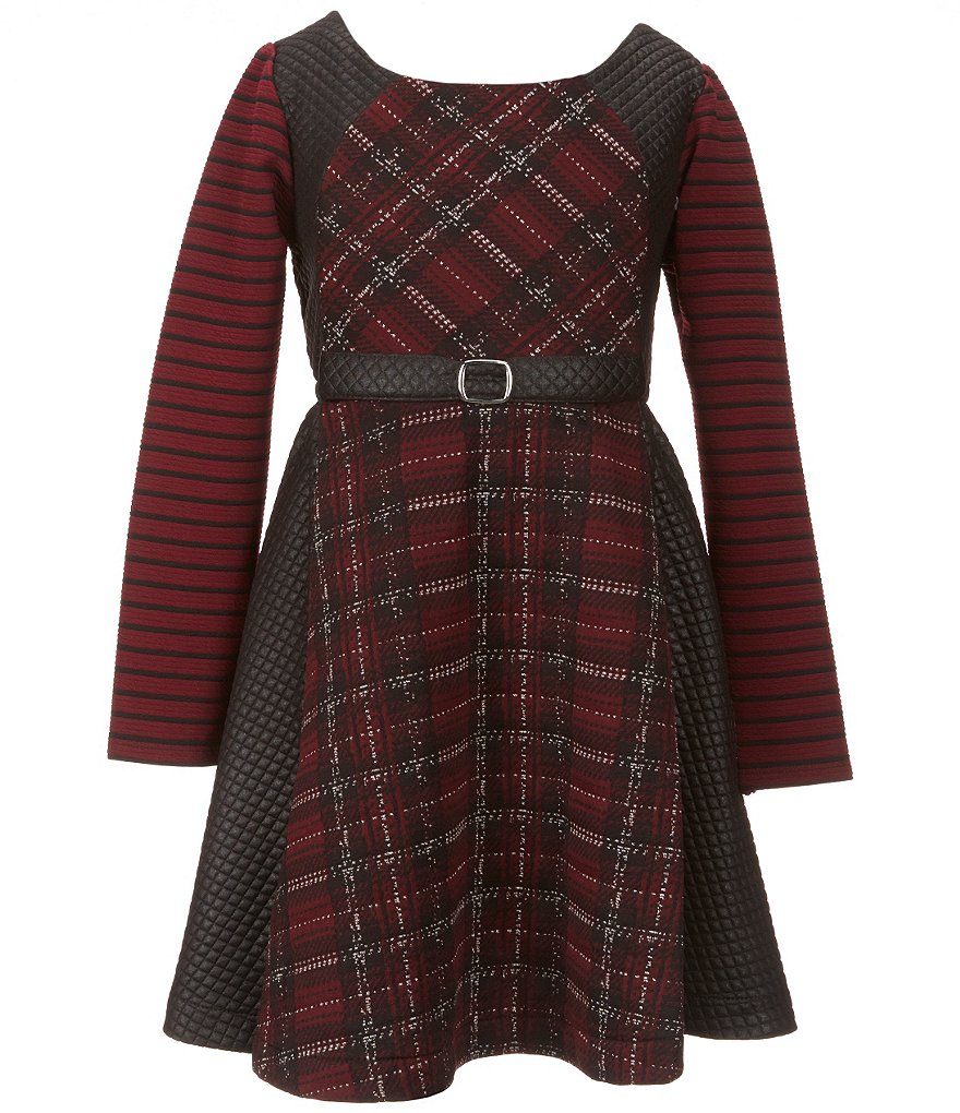 Bonnie Jean Big Girls 7-16 Double-Knit Plaid Jacquard Dress