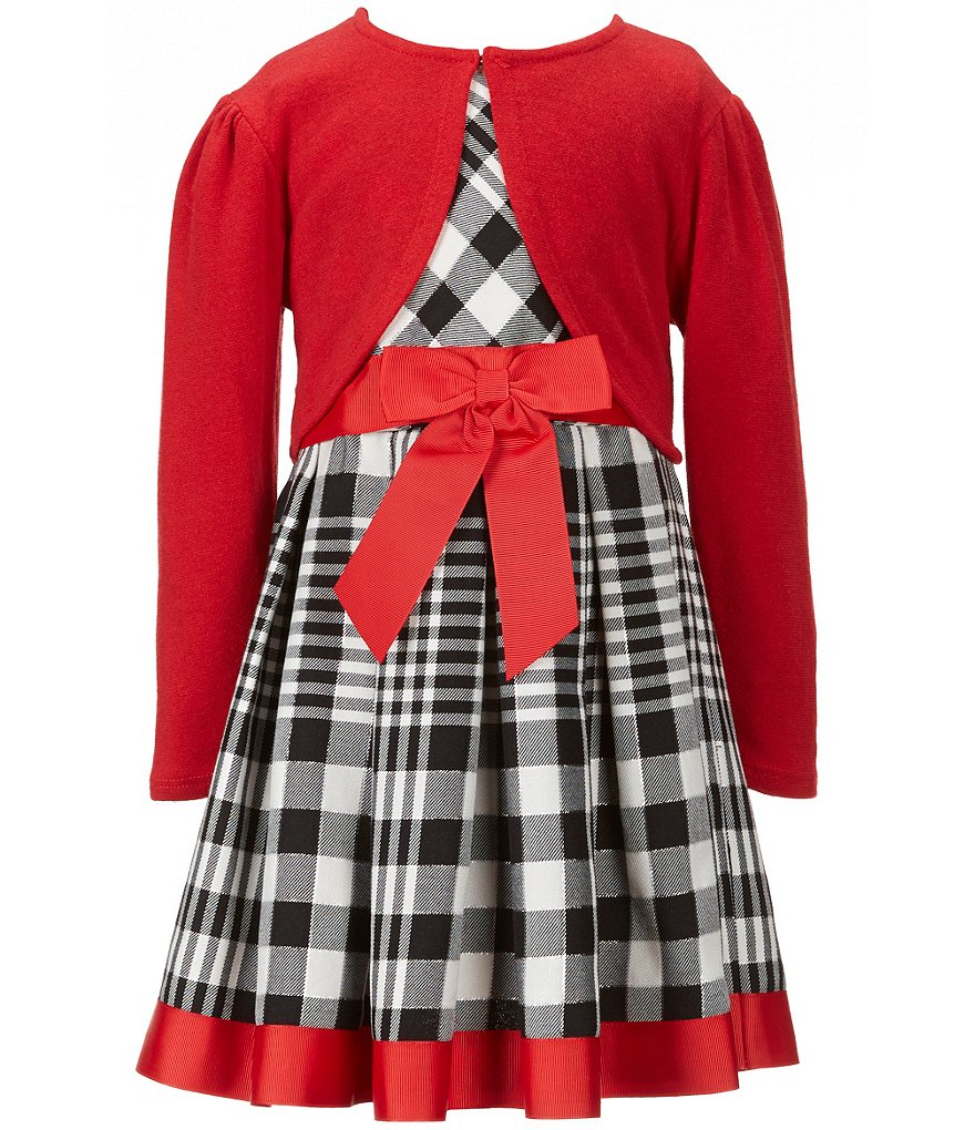 Bonnie Jean Big Girls 7-16 2-Piece Plaid Dress & Knit Cardigan Set