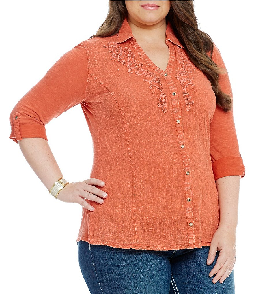Reba Plus Sky Roll Tab Sleeve Top