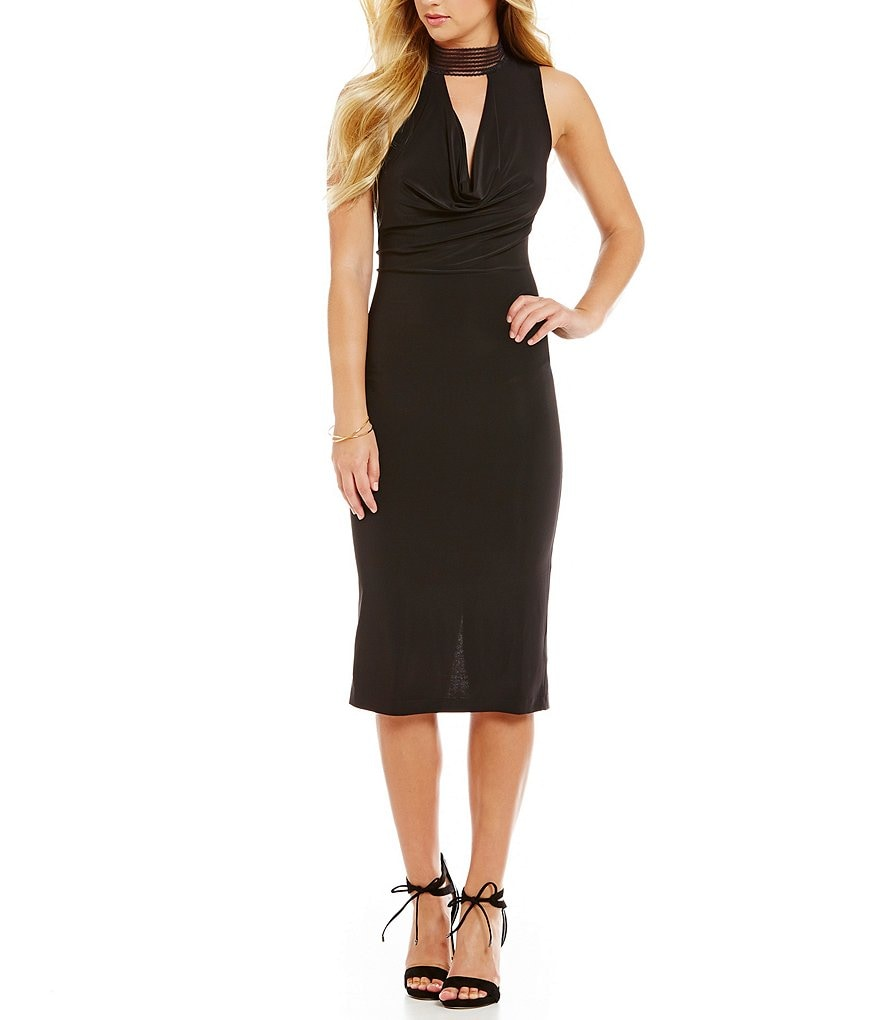 Mystic Choker Neckline Draped Midi Dress