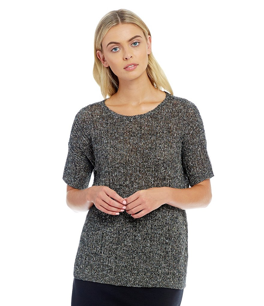 Eileen Fisher Round Neck Elbow-Sleeve Top