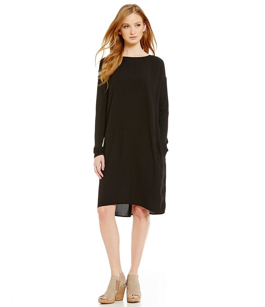 Eileen Fisher Ballet Neck Knee Length Long Sleeve Dress