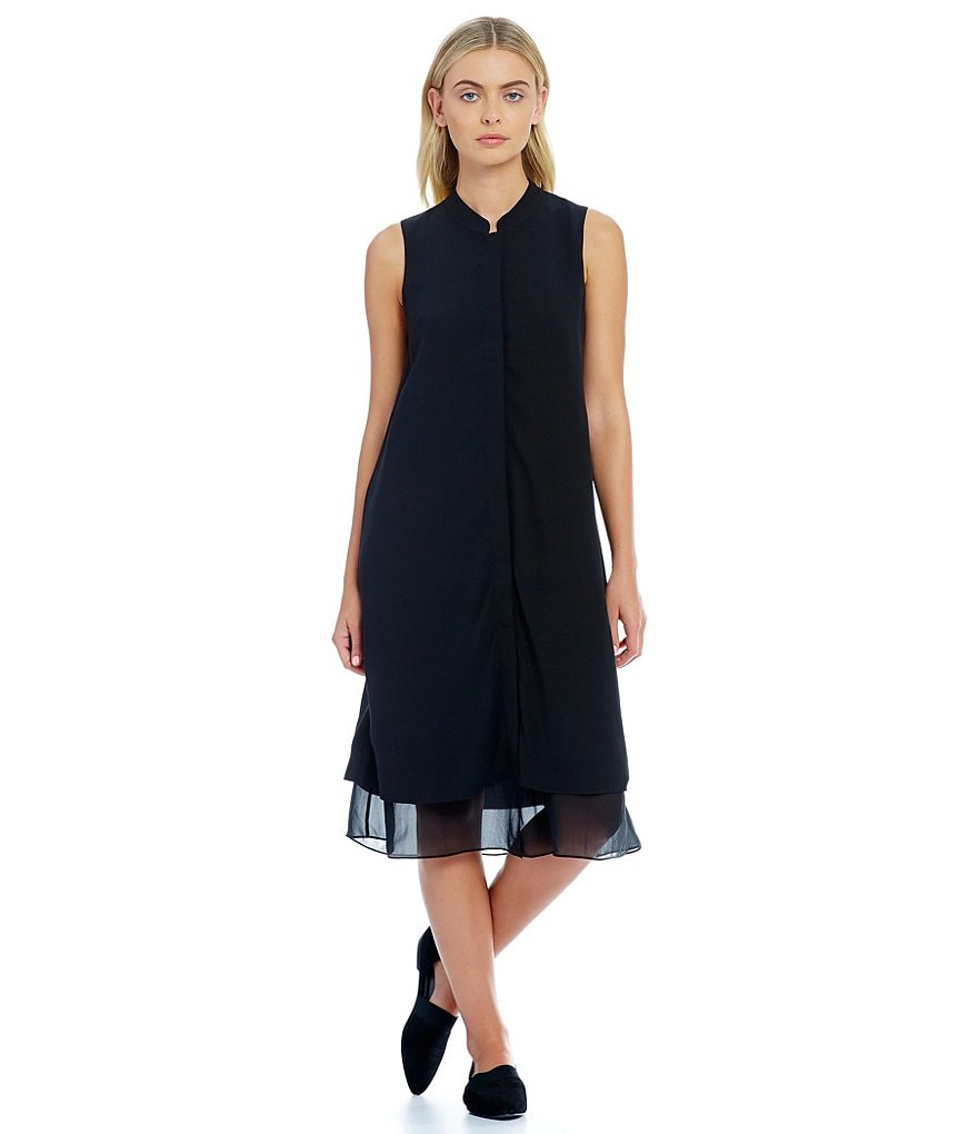 Eileen Fisher Mandarin Collar Knee Length Sleeveless Dress