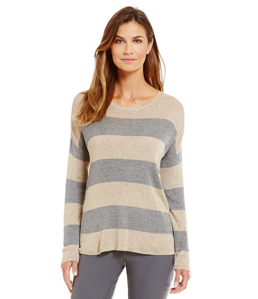 Eileen Fisher Striped Round Neck Box-Top
