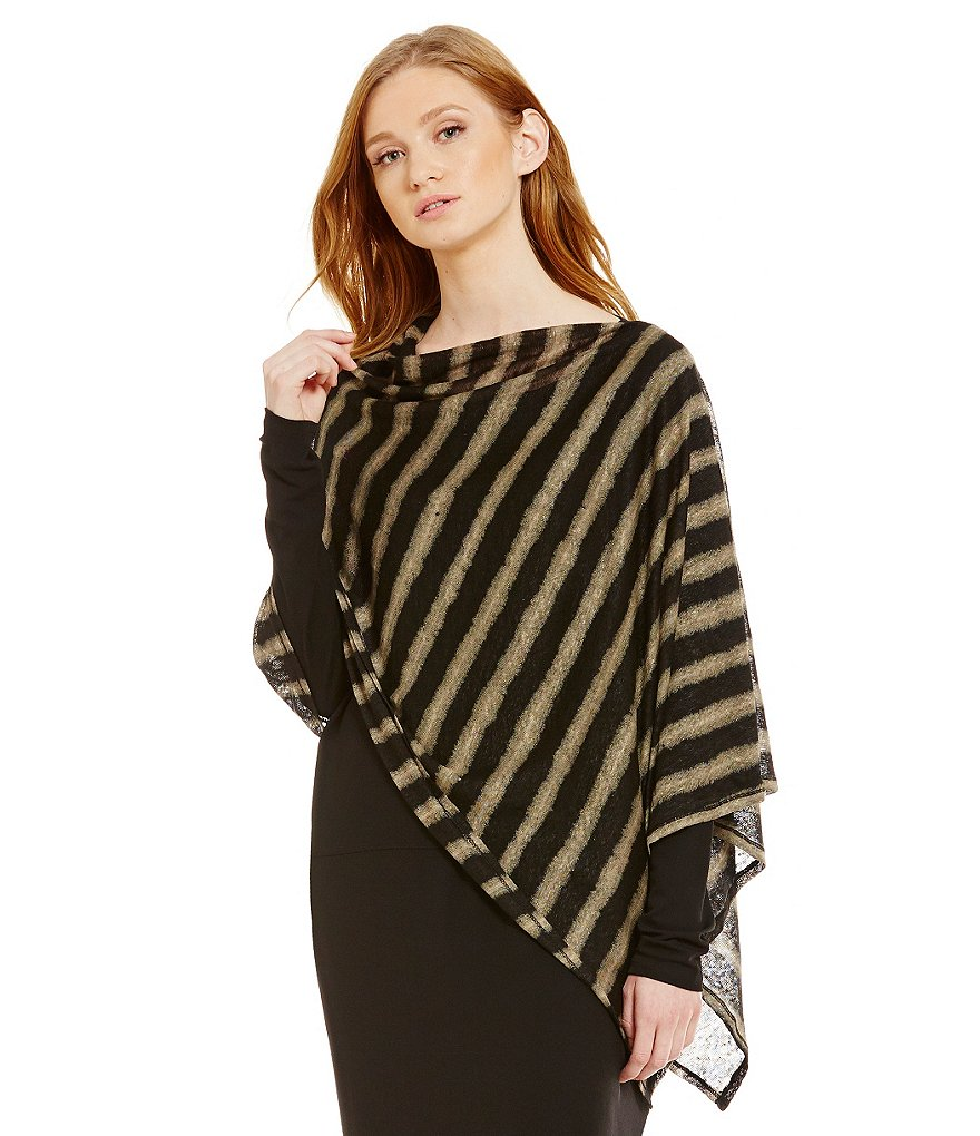 Eileen Fisher Painterly Organic Linen Stripe Poncho