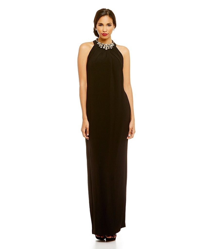 Tahari ASL Beaded Necklace Halter Crepe Gown
