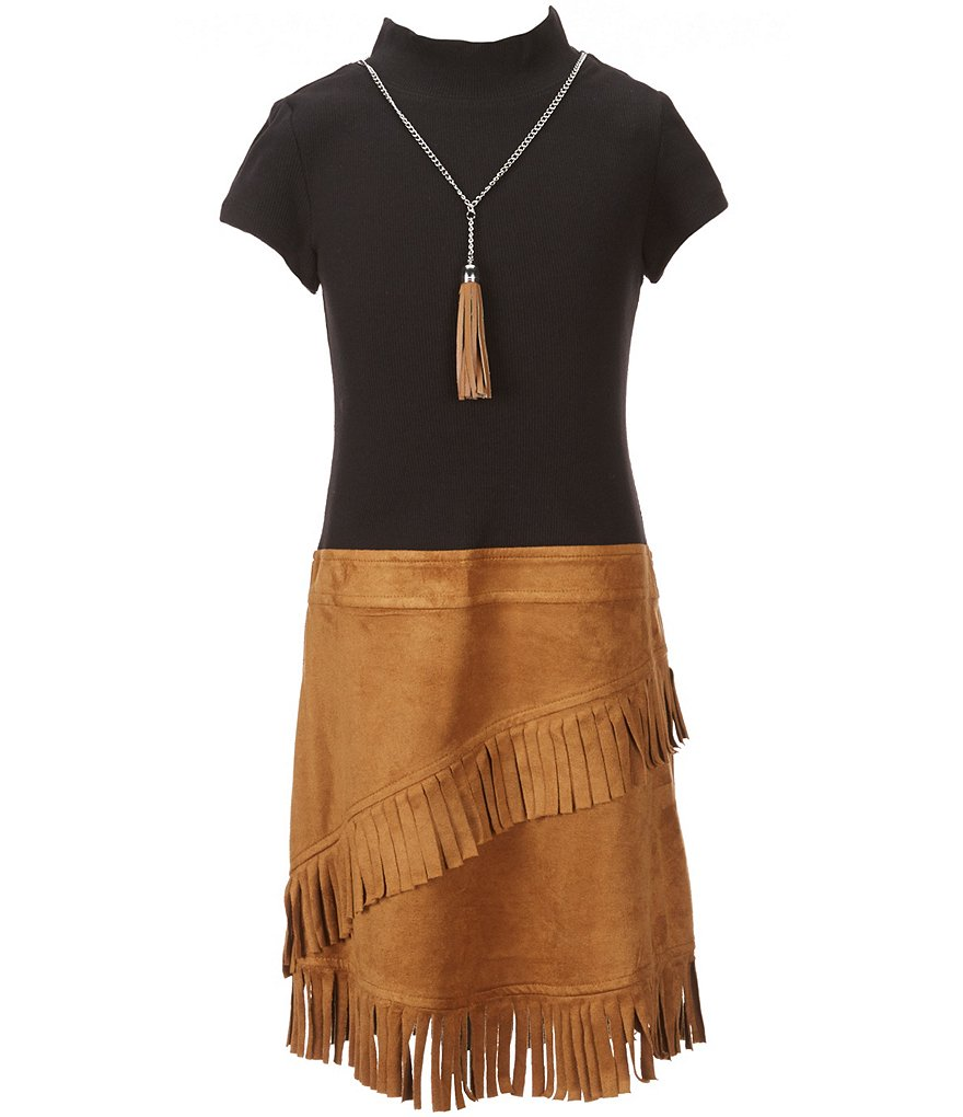 Bonnie Jean Big Girls 7-16 Rib Knit Faux-Suede Fringe Drop-Waist Dress