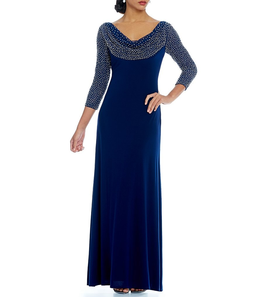 Cachet Caviar Beaded Cowl Neck 3/4 Sleeve Gown