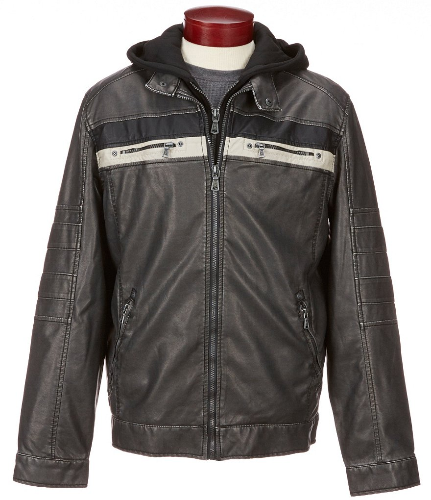 PX Clothing Faux-Leather Hooded Moto Jacket