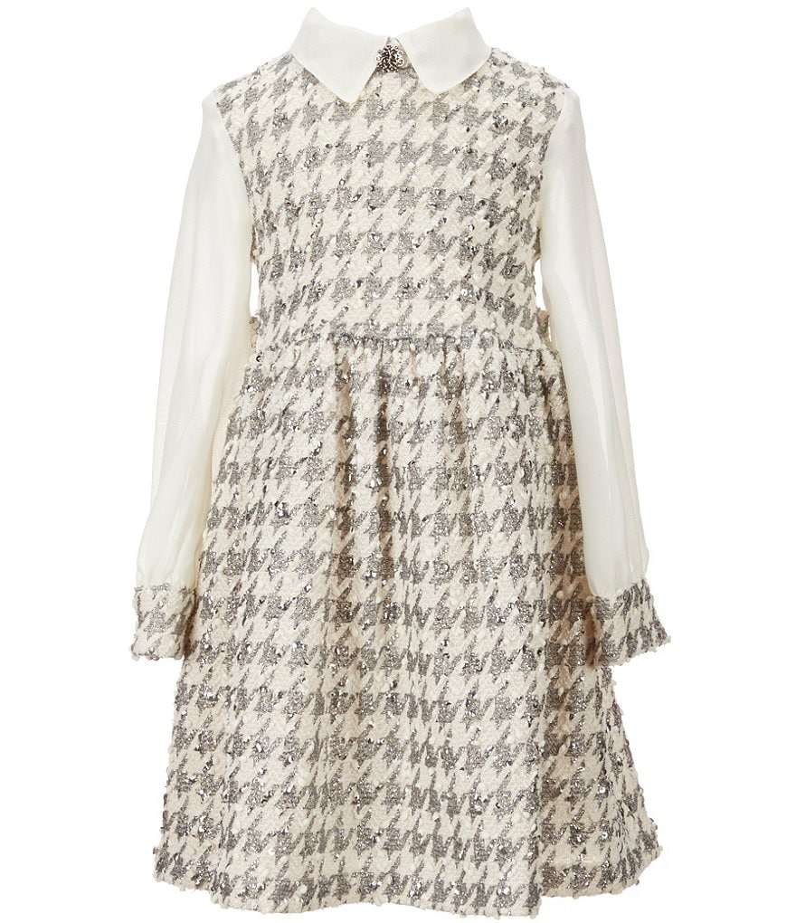 Bonnie Jean Little Girls 4-6X Foil Houndstooth Boucle Dress