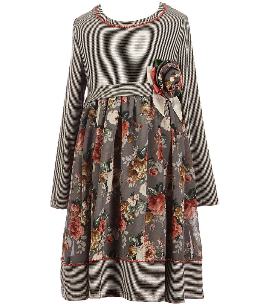 Bonnie Jean Little Girls 4-6X Knit Empire to Printed Floral Chiffon Dress