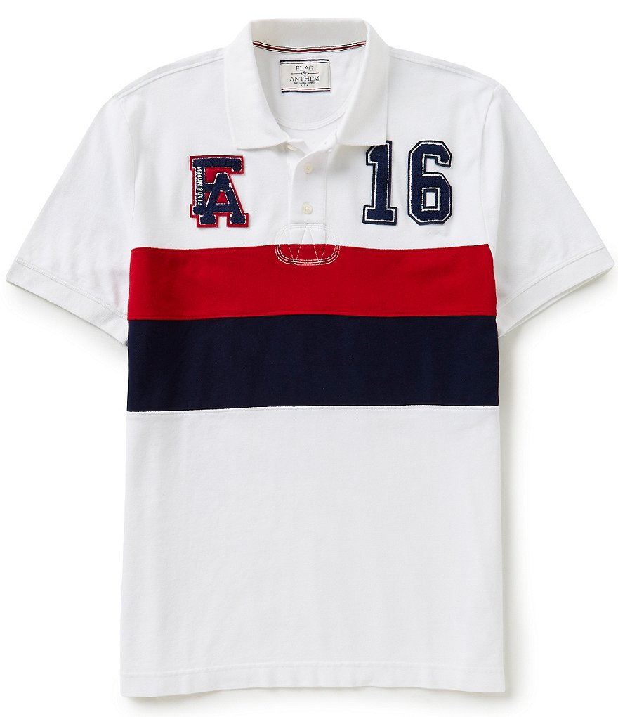 Flag & Anthem Littleton Short-Sleeve Wide-Chest-Stripe Classic Rugby Polo Shirt