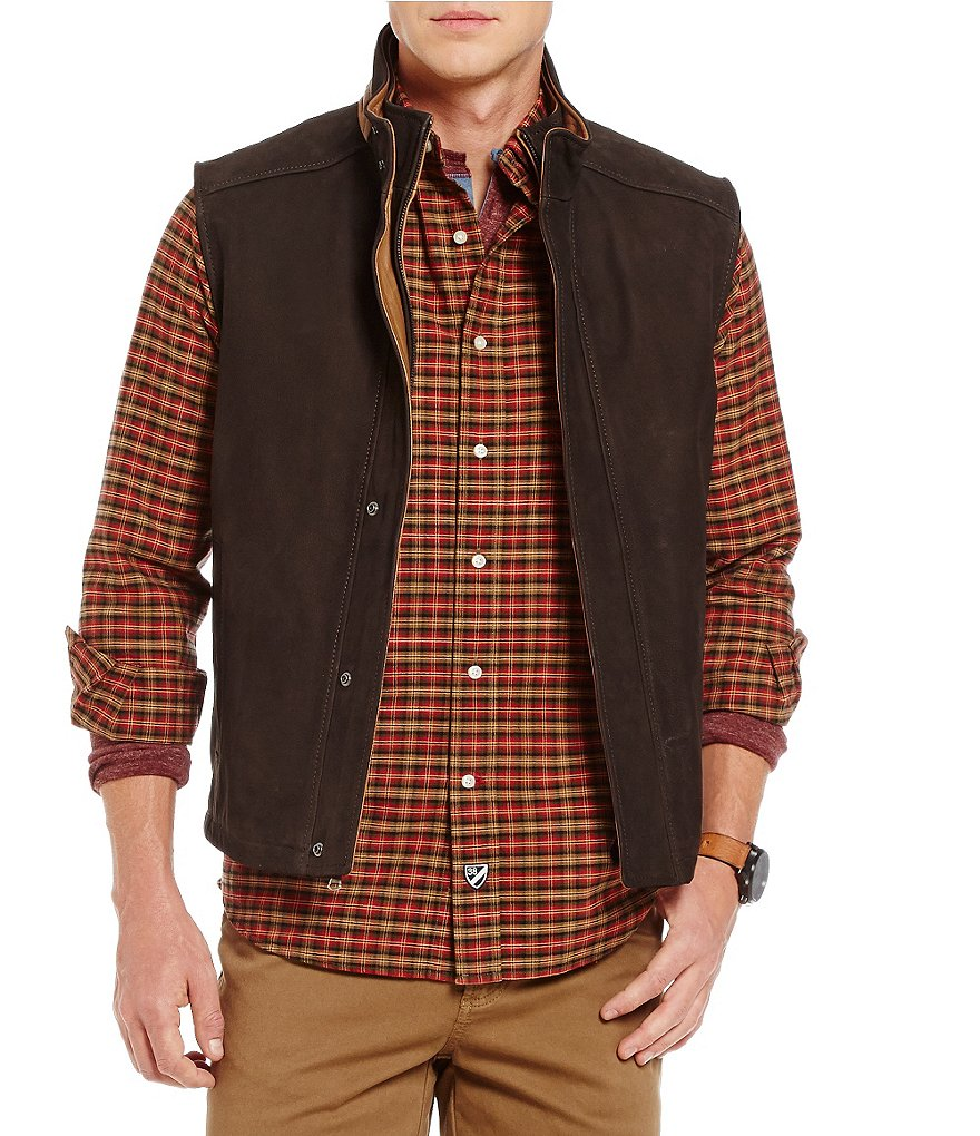 Cremieux Double-Collar Leather Vest