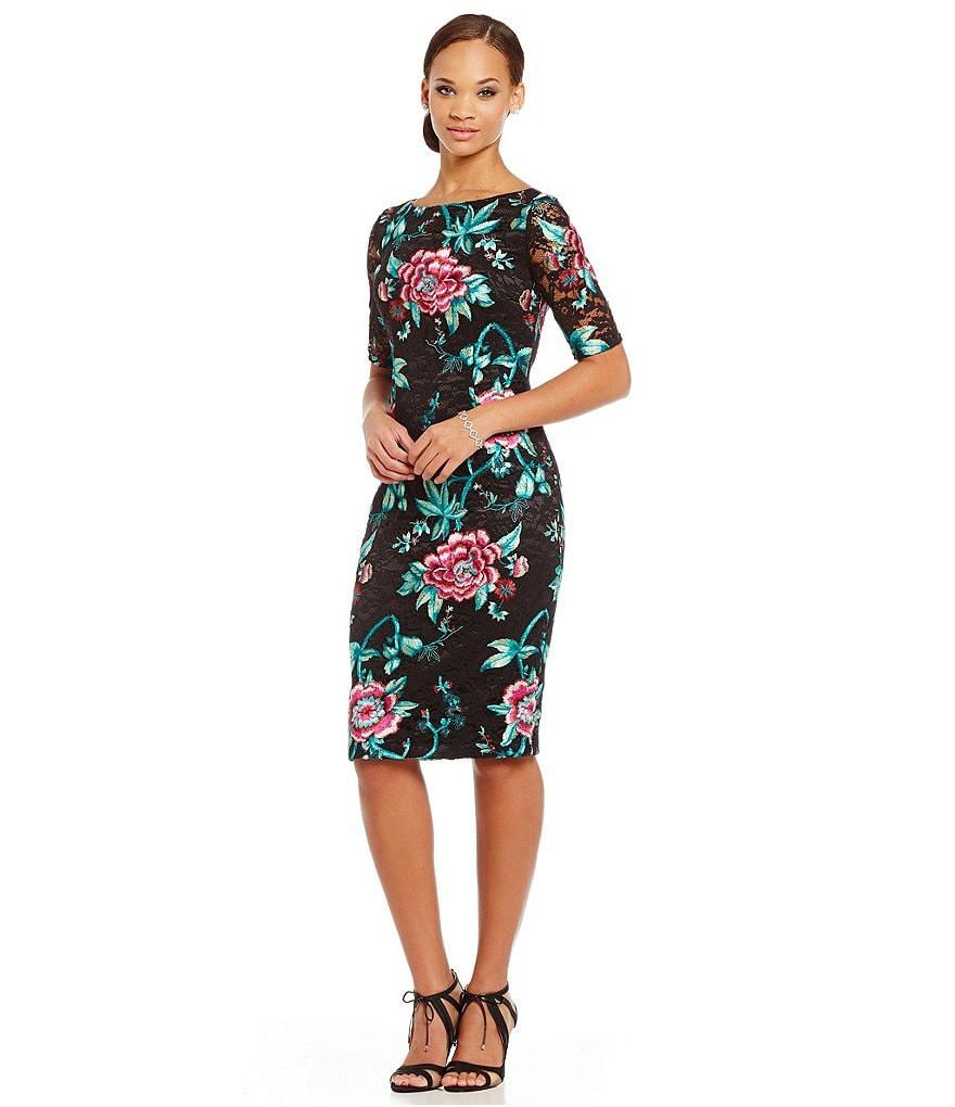 Eliza J Embroidered Floral Lace Sheath Dress