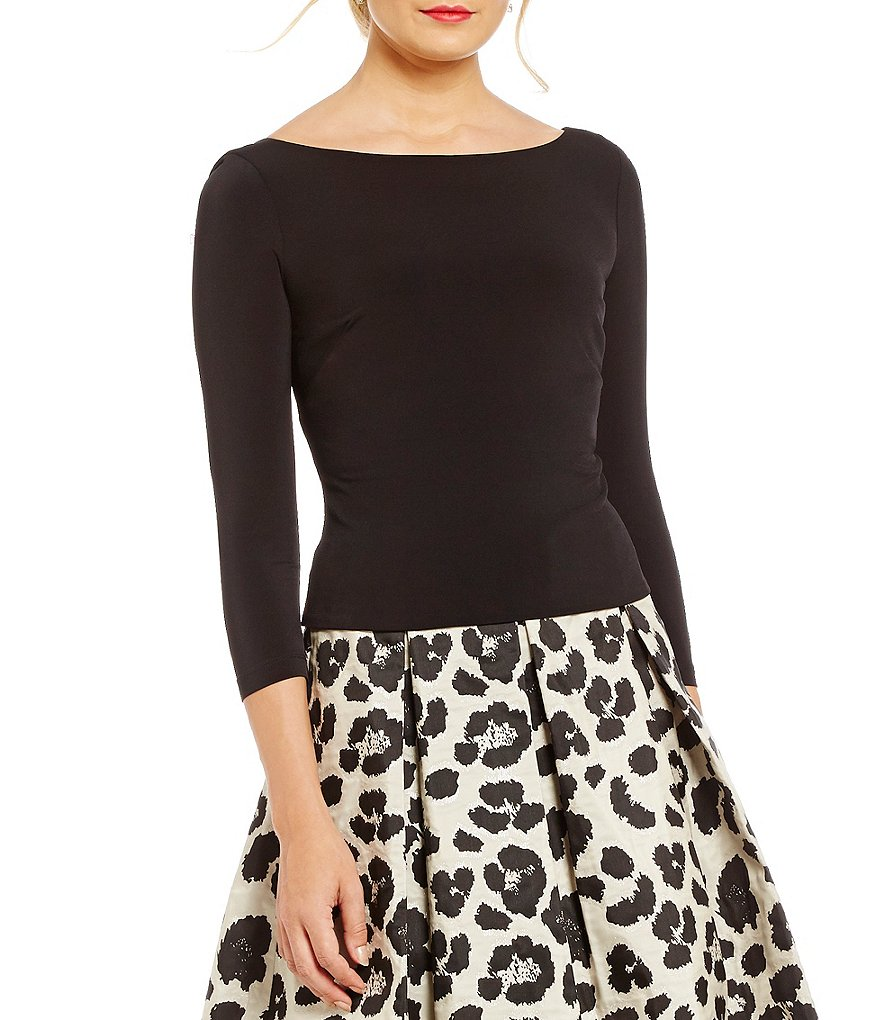 Eliza J Ballet Neck Stretch Jersey Top
