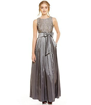 Eliza J Lace Bodice Sleeveless Jewel-Neck Ball Gown
