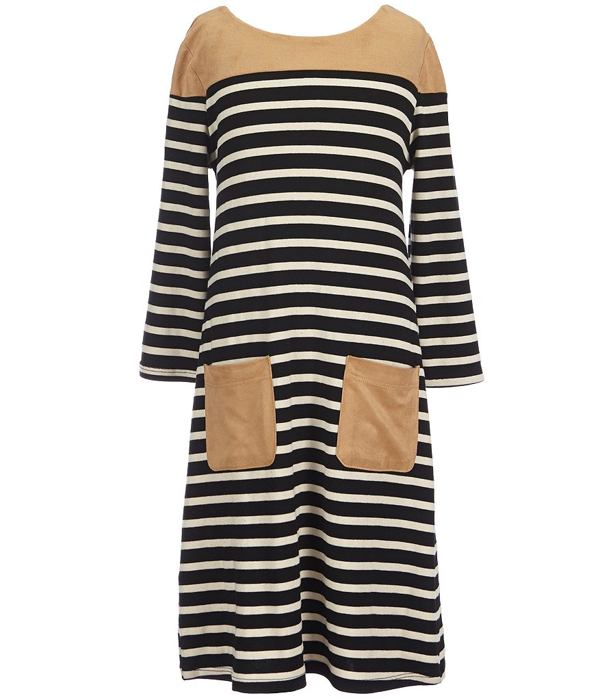 Monteau Girl Big Girls 7-16 Striped Shift Dress