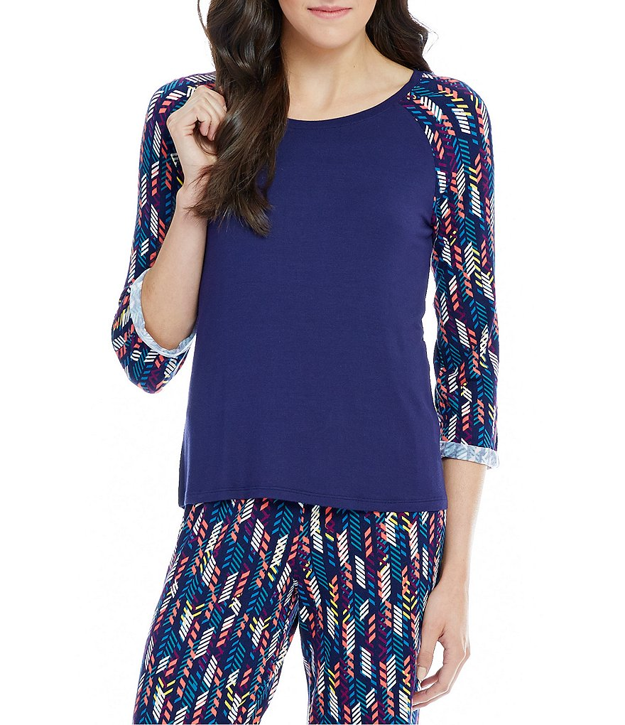 Jasmine & Ginger Printed Raglan-Sleeve Sleep Top