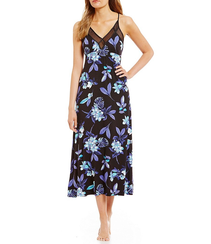 Midnight By Carole Hochman Floral-Printed Jersey Long Nightgown