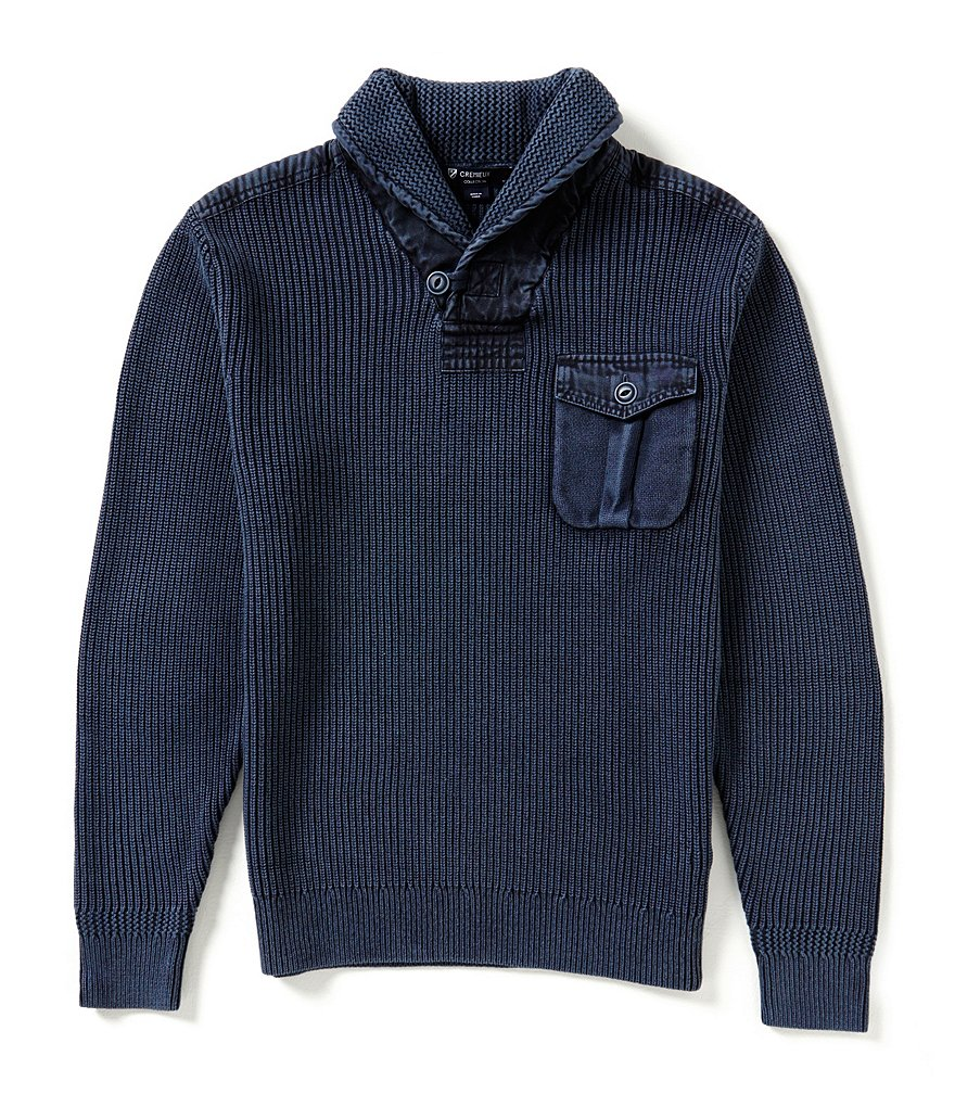 Cremieux Long-Sleeve Elbow-Patches Shawl Collar Sweater