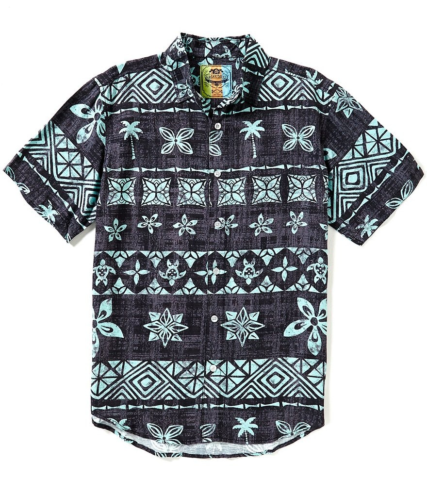 Margaritaville Short-Sleeve Tapa Tropical-Pattern BBQ Shirt