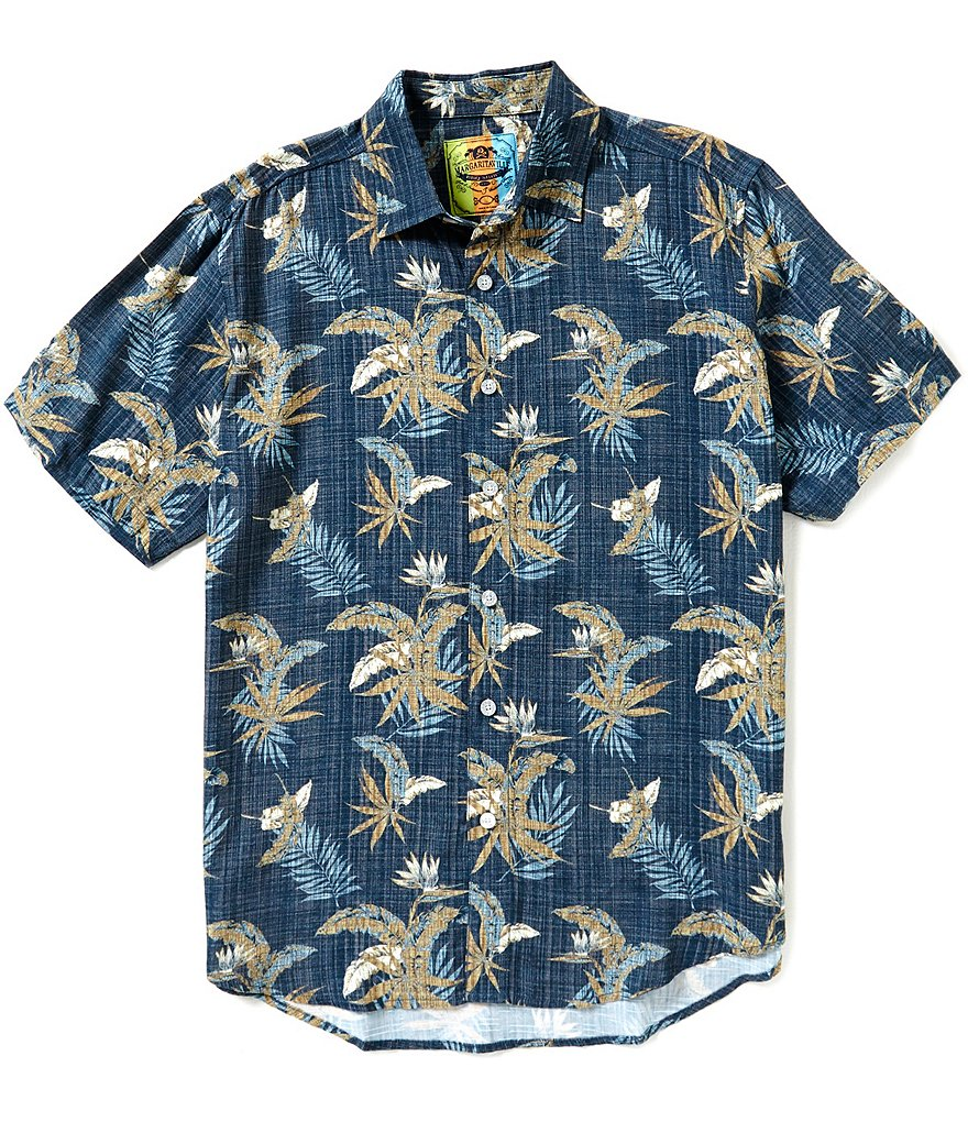 Margaritaville Short-Sleeve Repeating Floral Feathers BBQ Shirt
