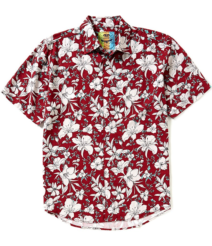 Margaritaville Short-Sleeve Repeating Artistic Floral BBQ Shirt