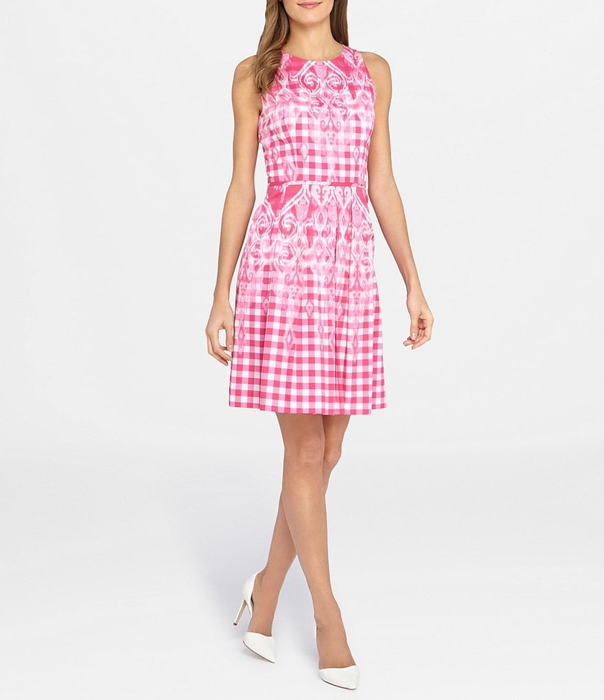 Tahari ASL Petite Gingham Fit-and-Flare Dress