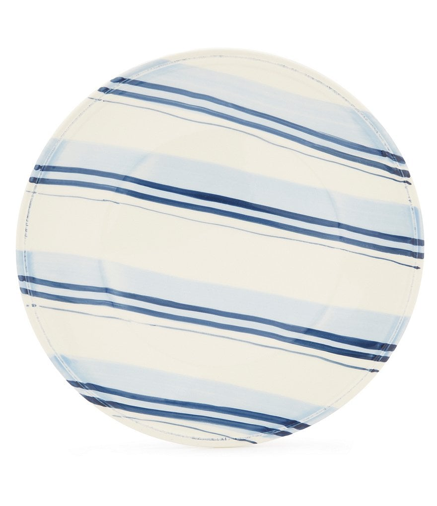 Cremieux Hand-Painted Striped Earthenware Dinner Plate