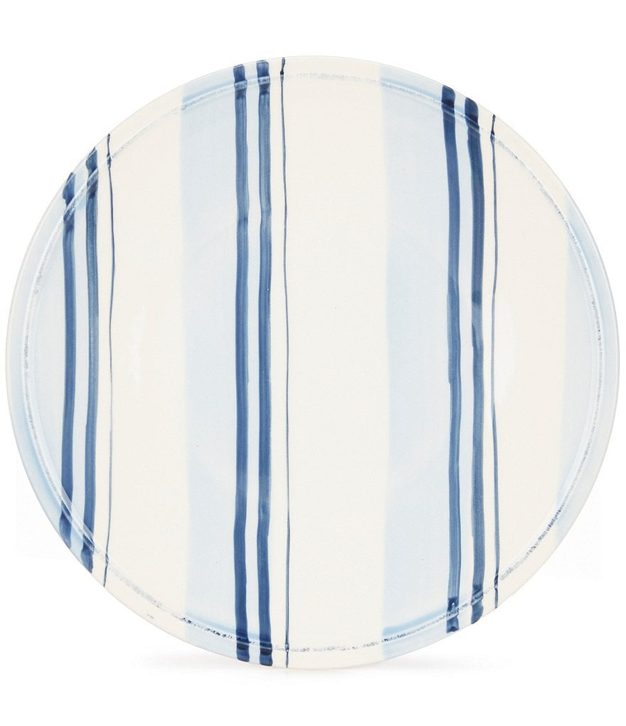 Cremieux Hand-Painted Striped Earthenware Salad Plate