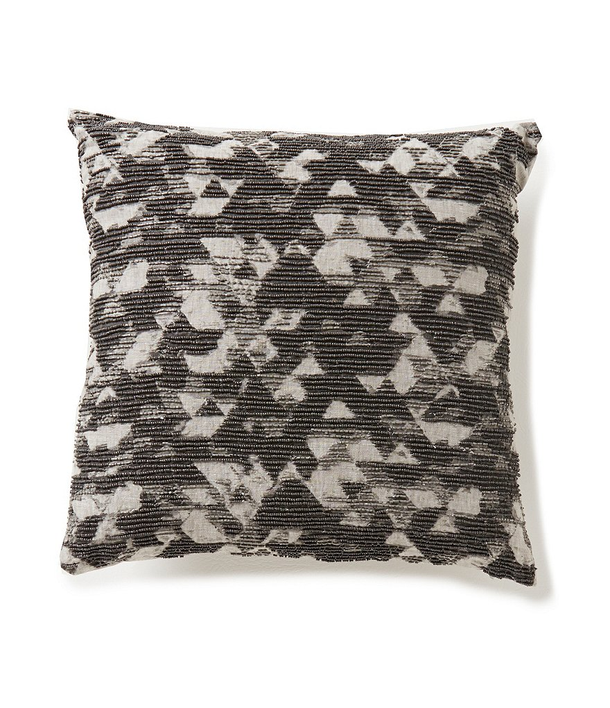 Moderne by Noble Excellence Bijoux Beaded Geometric Linen & Cotton Square Pillow