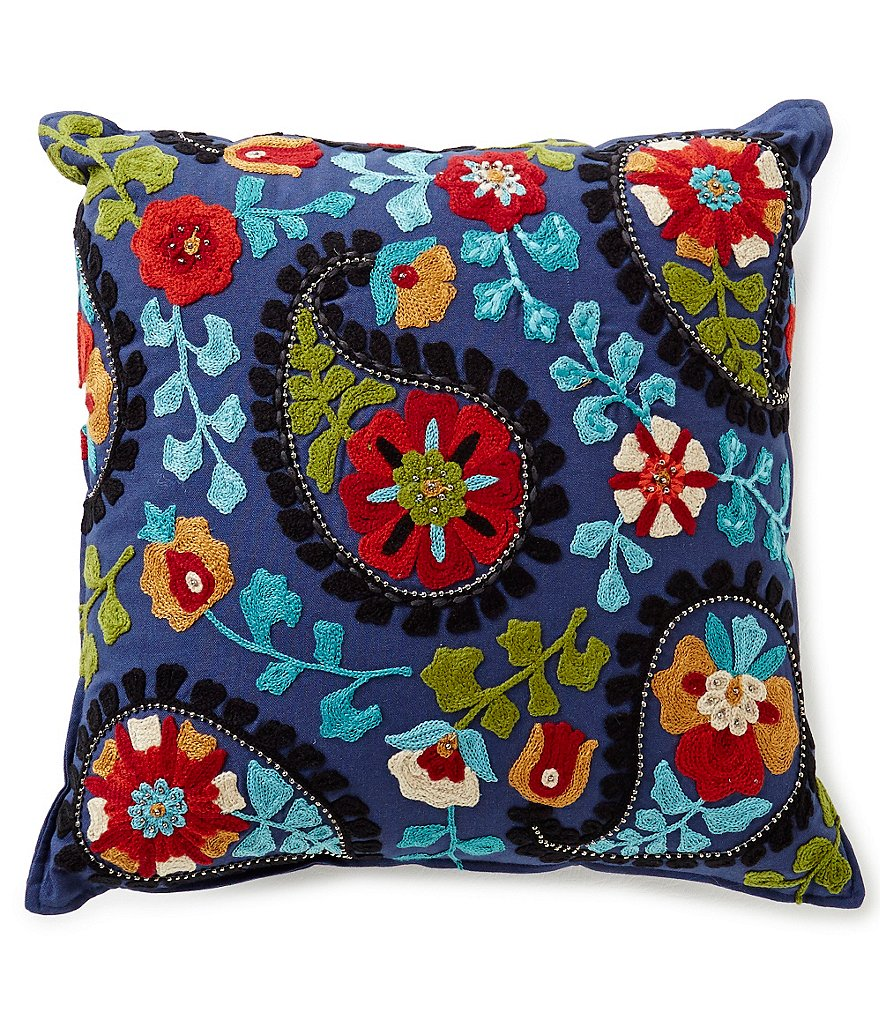 Studio D Floral Paisley Embroidered Square Pillow