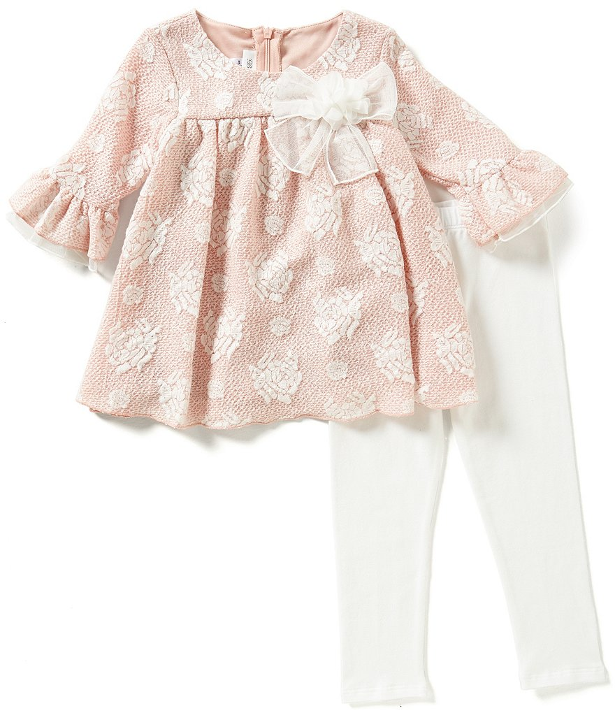 Bonnie Jean Little Girls 2T-6X Floral Jacquard A-Line Dress and Leggings Set