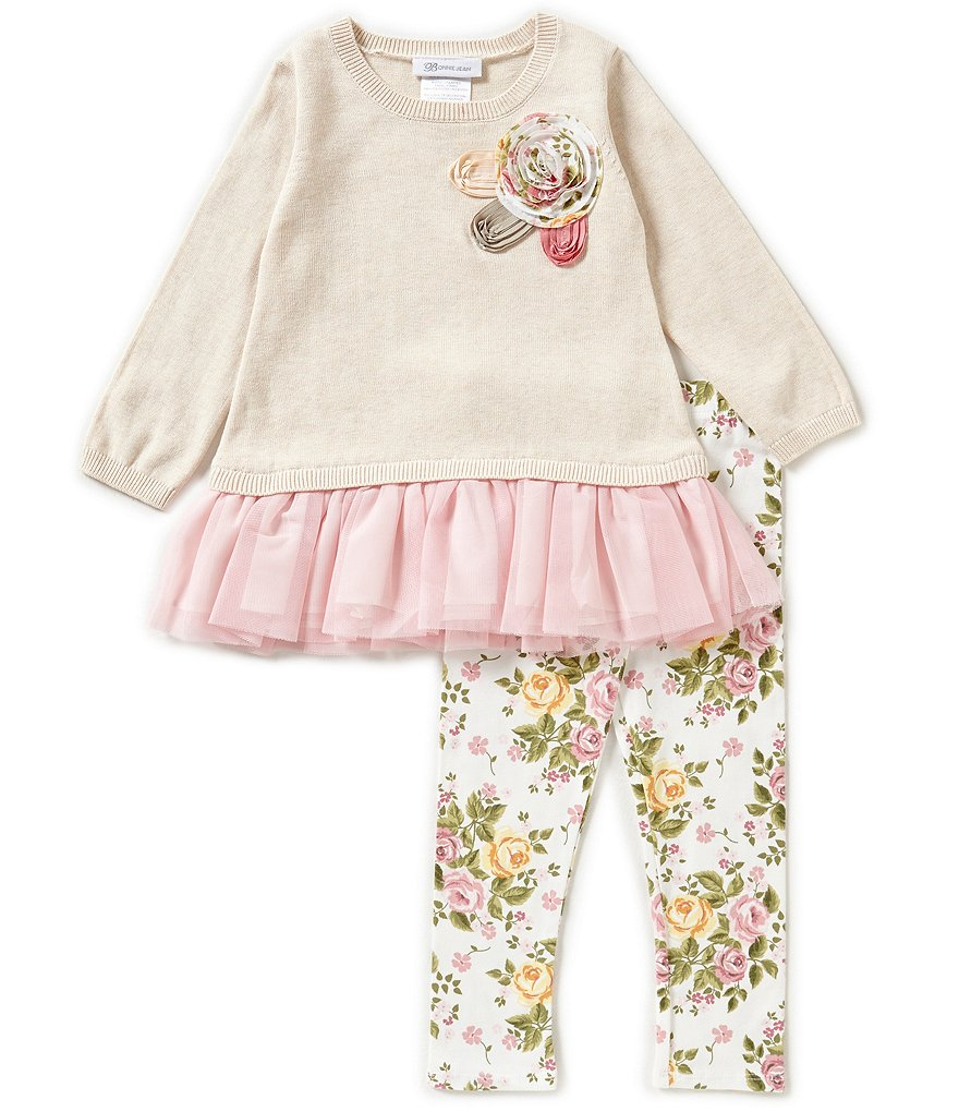Bonnie Jean Little Girls 2T-6X Sweater Dress & Floral Knit Pants Set
