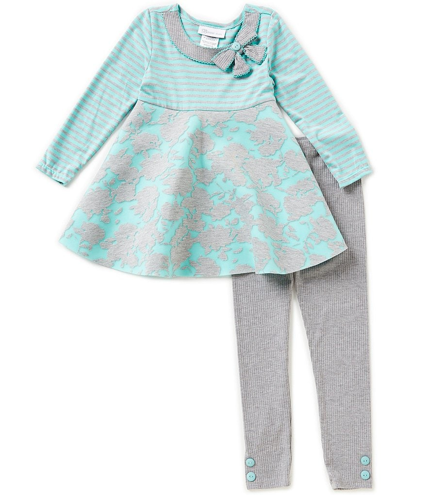Bonnie Jean Little Girls 4-6X Mesh Burnout Dress And Leggings Set
