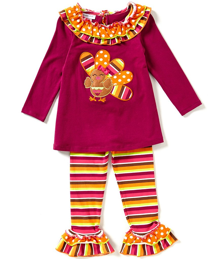 Bonnie Jean Little Girls 2T-4T Thanksgiving Turkey-Applique Top & Leggings Set