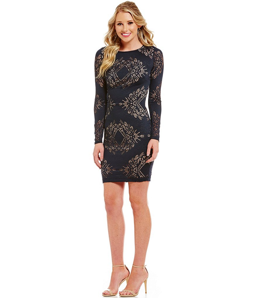 Mystic Long Sleeve Burnout Pattern Sheath Dress
