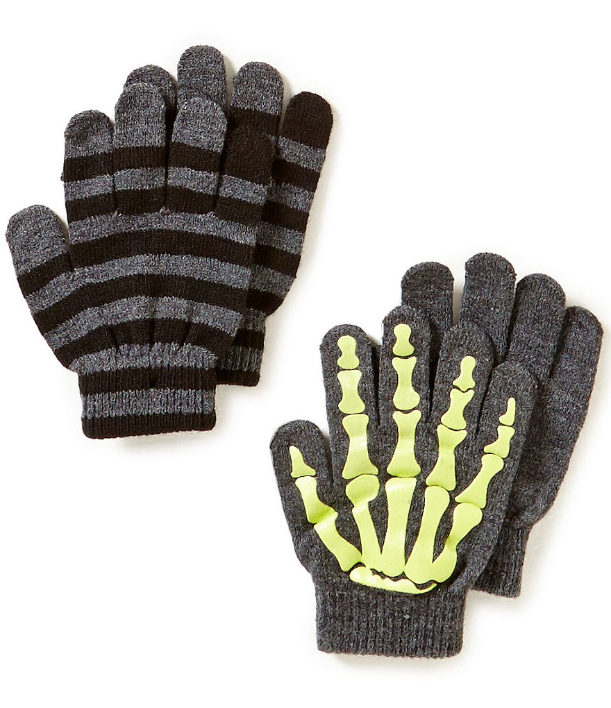 Class Club Boys Skeleton Printed Gripper Striped Gloves Set