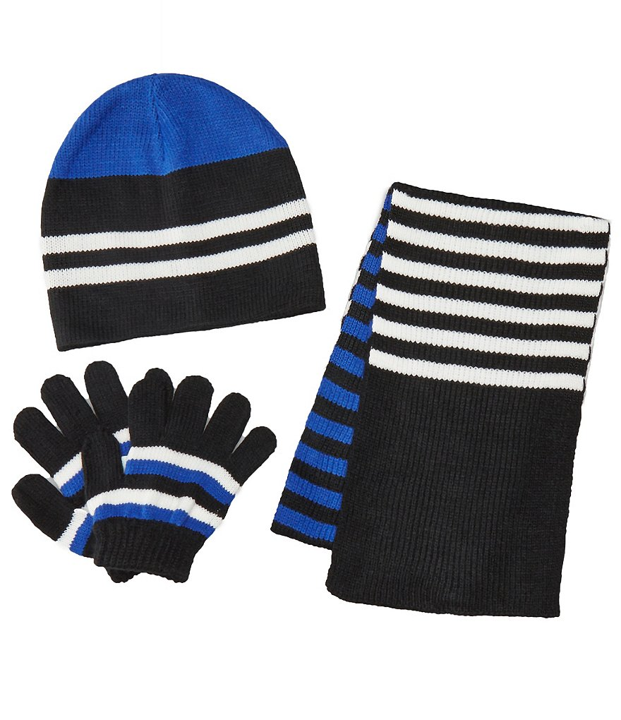Class Club Stripe 3-Piece Scarf, Hat, and Gloves Set