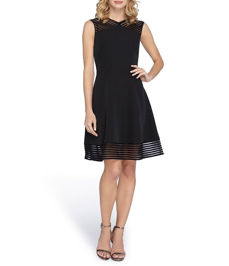 Tahari ASL Petite Illusion Cut-Out Fit-and-Flare Dress