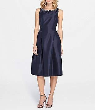 Tahari ASL Petite Beaded Necklace Midi Dress