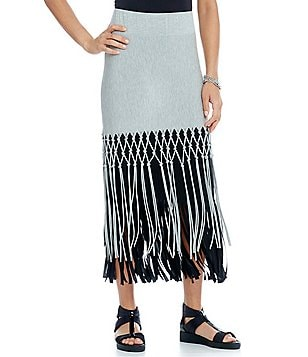 IC Collection Pull-On Layered Fringe Skirt