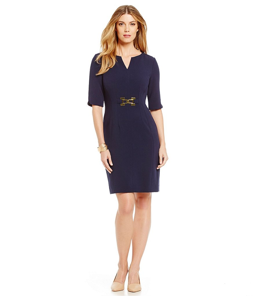 Tahari ASL Petite Belted Double Woven Sheath Dress