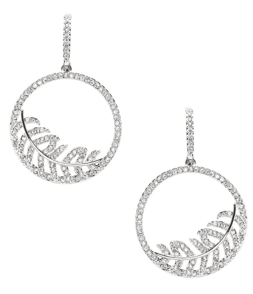 Nadri Angelina Pavé Feather Drop Hoop Earrings
