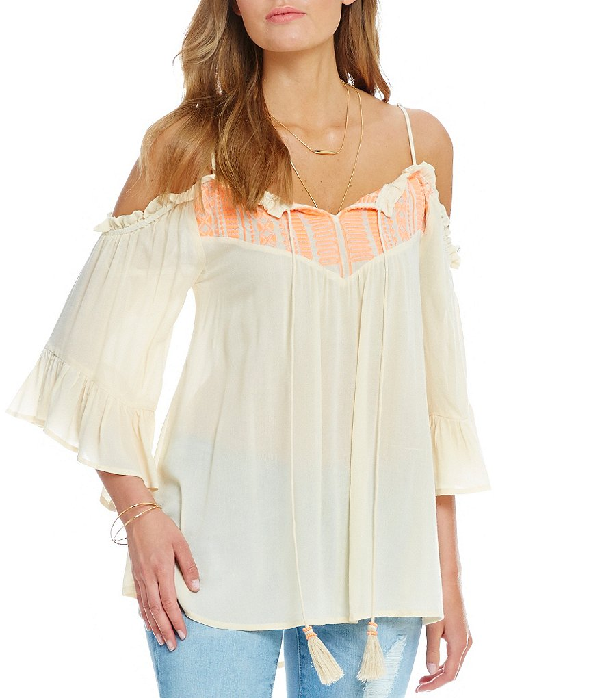 Blu Pepper Embroidered Bell-Sleeve Cold Shoulder Top