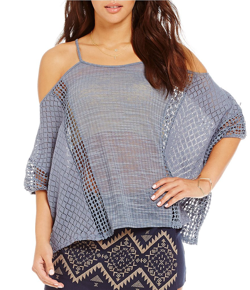 Blu Pepper Knit Lace Cold Shoulder Top