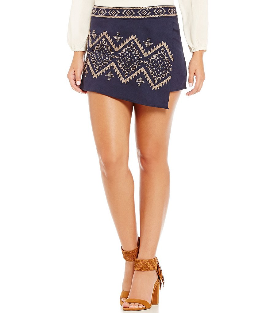 Blu Pepper Embroidered Woven Wrap Skirt