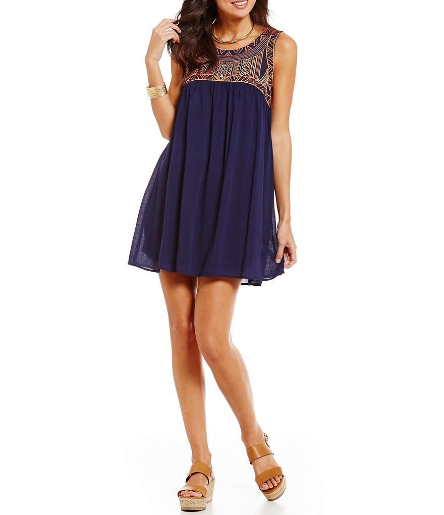 Blu Pepper Embroidered Babydoll Dress