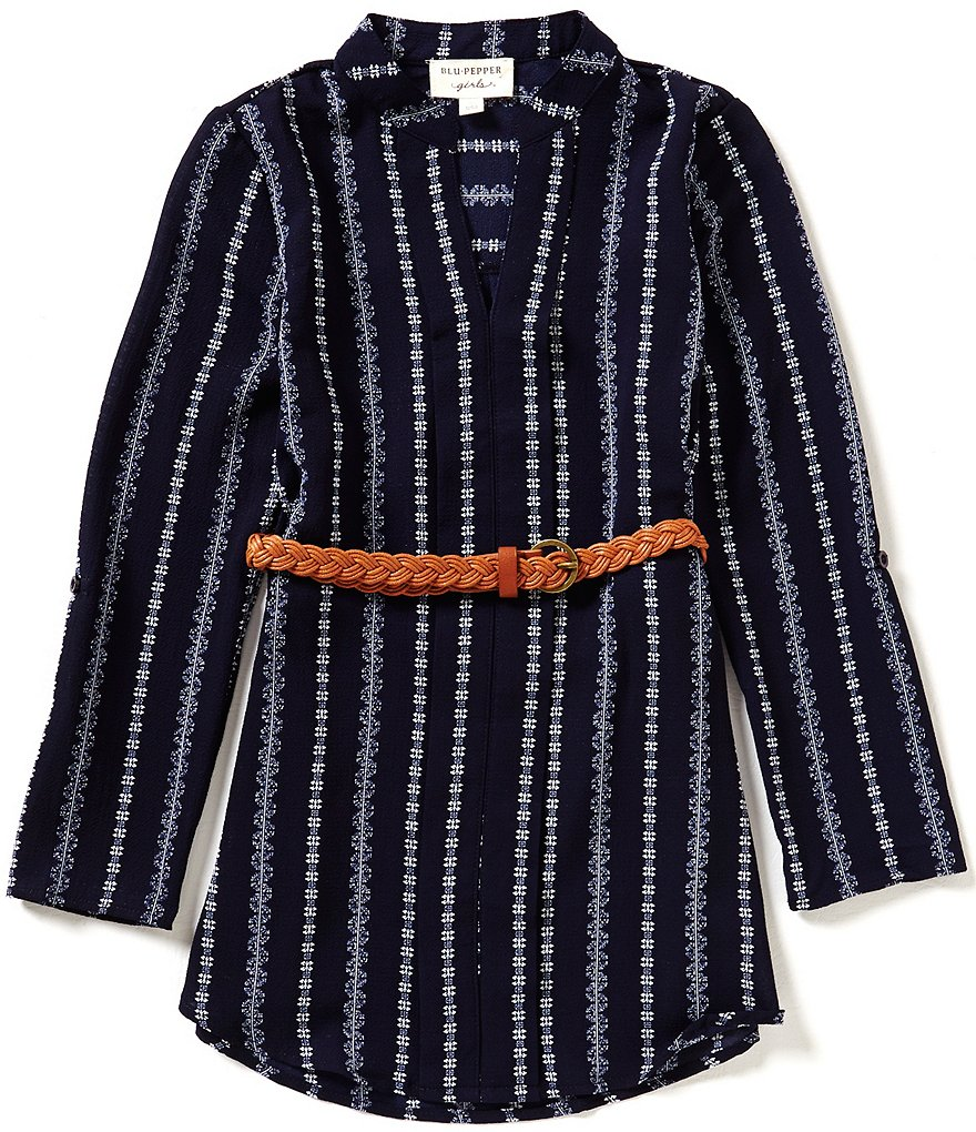 Blu Pepper Big Girls 7-16 Belted Striped Tunic