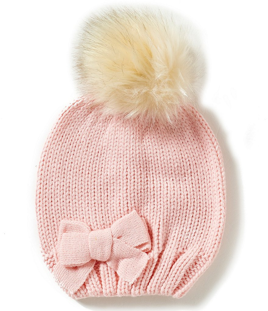 Copper Key Girls Rib-Knit Bow Faux-Fur Pom Hat
